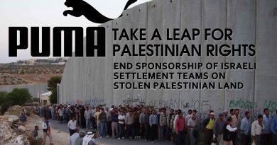 Mehr als 200 palästinensische Sportvereine drängen Puma, das Sponsoring israelischer Vereine aus illegalen Siedlungen zu beenden