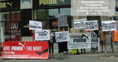 Boykottiert PUMA! Protest-Kundgebung am Hackeschen Markt in Berlin