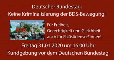 Schluss mit der Kriminalisierung der BDS-Bewegung!