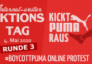 Internet-weiter Aktionstag am Montag, 4. Mai 2020 – #BoycottPUMA Online Protest