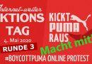 Click & Tweet-Bogen für den 3. globalen # BoycottPuma-Aktionstag